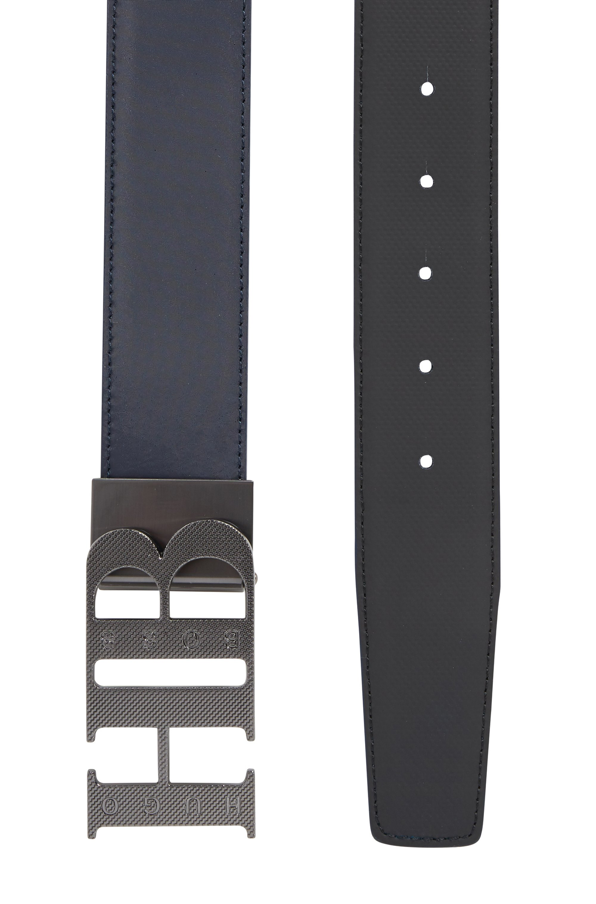 Reversible leather belt with engraved monogram plaque buckle