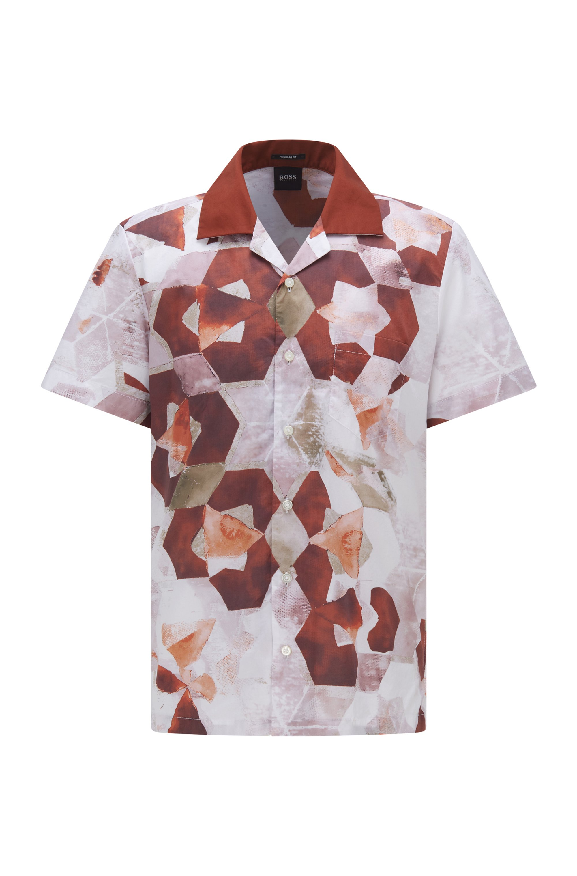 Regular-fit shirt in cotton with new-season print, White Patterned
