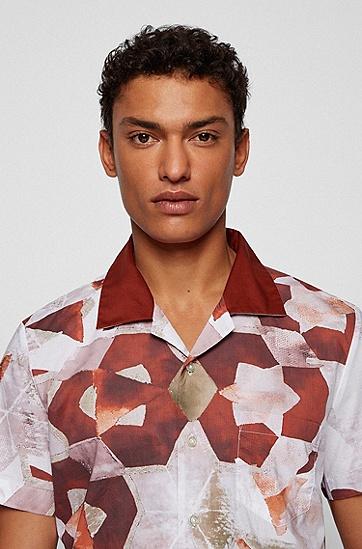 新季印花常规版型棉质衬衫,  223_Rust/Copper