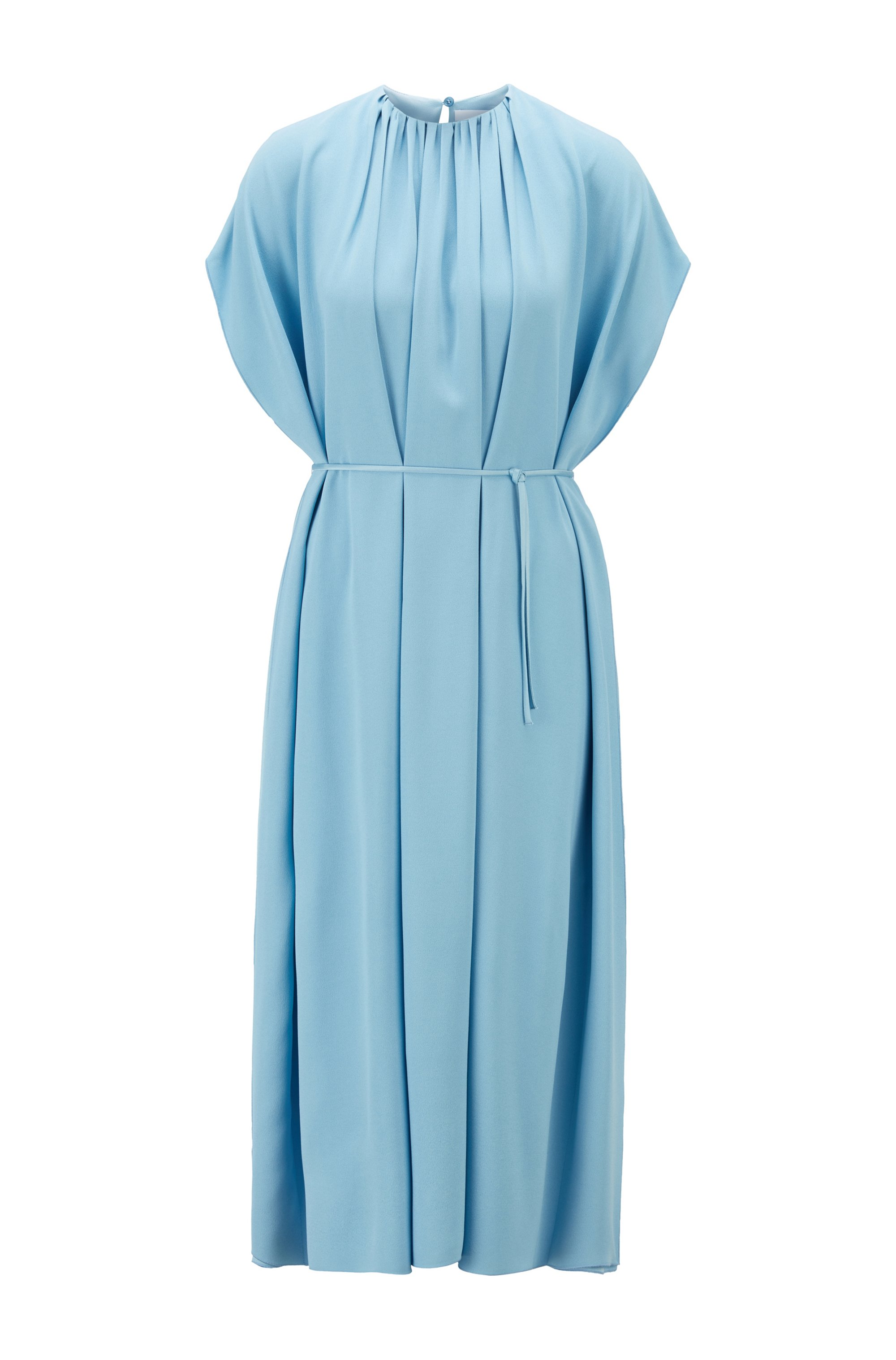 Kimono-sleeve dress in satin-back crepe, Light Blue