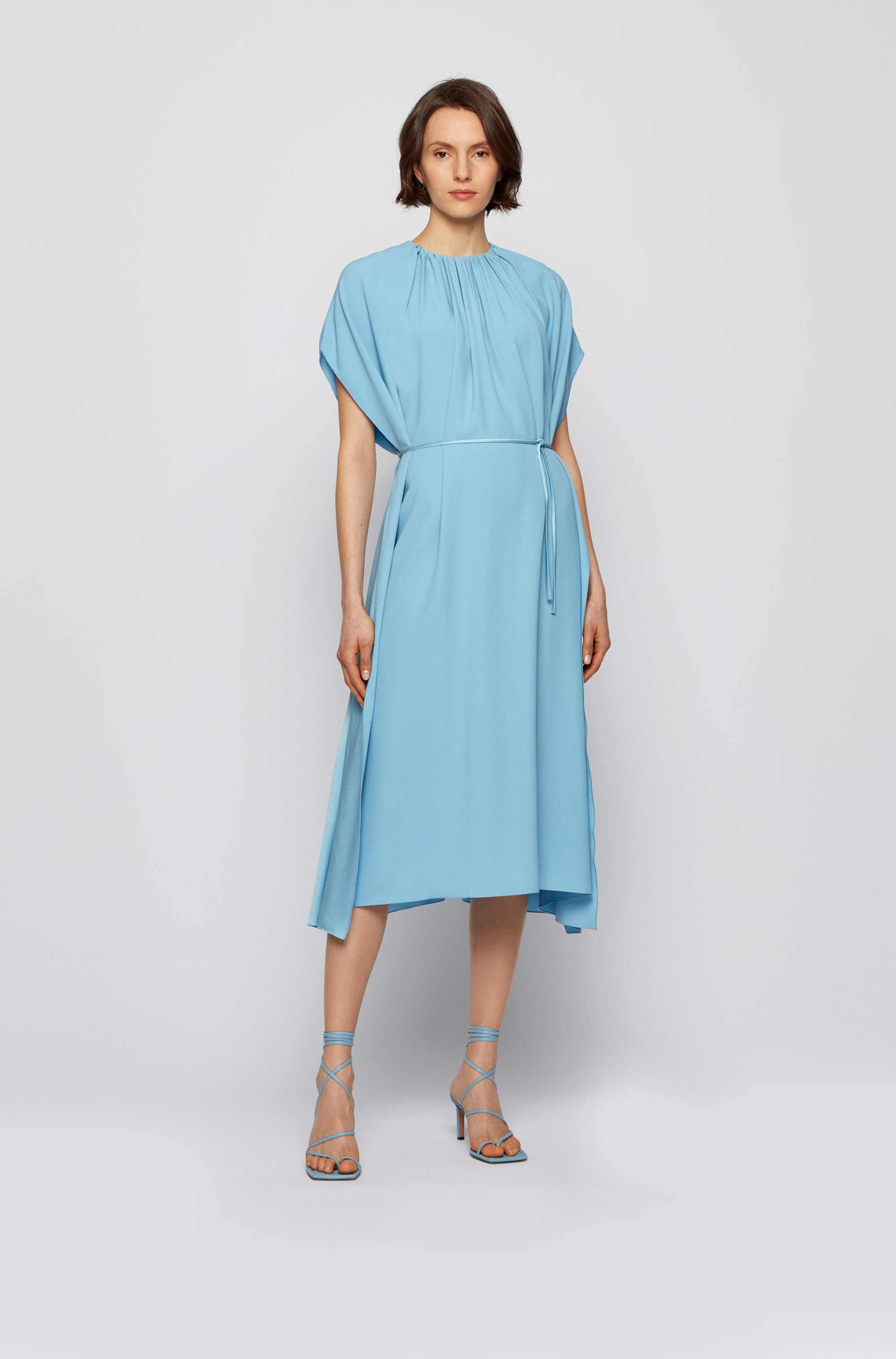 Kimono-sleeve dress in satin-back crepe