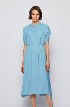 Kimono-sleeve dress in satin-back crepe, Light Blue