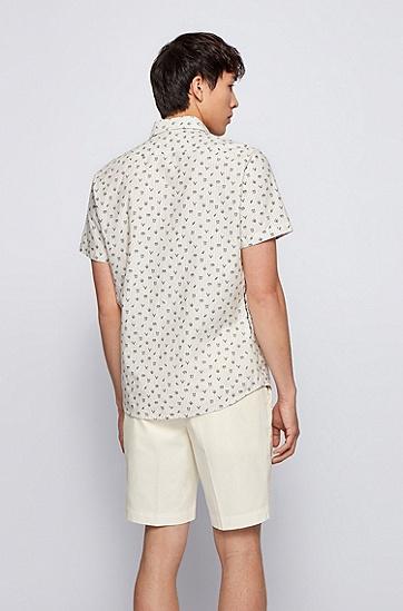 棉麻面料常规版型印花衬衫,  026_Dark Grey