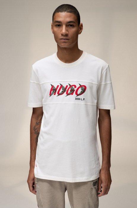 T-shirt mixte en coton à motif logo inspiré de la forêt, Blanc