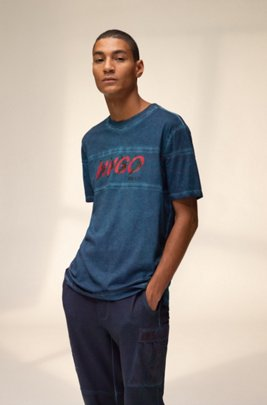 Unisex T-shirt in cotton with forest-inspired logo motif, Dark Blue