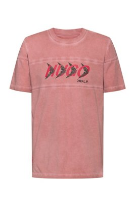 Unisex T-shirt in cotton with forest-inspired logo motif, light pink