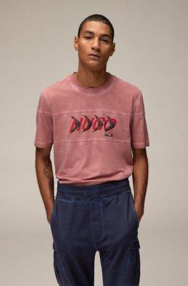 T-shirt unisex in cotone con motivo con logo ispirato al bosco, Rosa chiaro