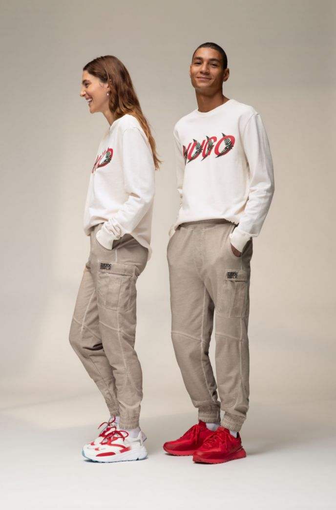 Unisex sweatshirt in cotton with forest-inspired logo motif