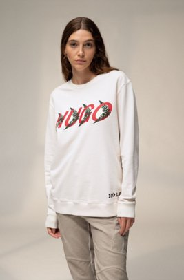 Unisex sweatshirt in cotton with forest-inspired logo motif, White