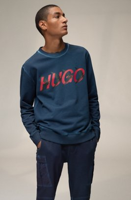 Unisex sweatshirt in cotton with forest-inspired logo motif, Dark Blue