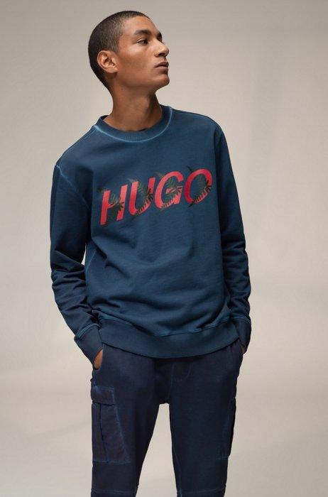 Unisex sweatshirt in cotton with forest-inspired logo motif, Dark Blue