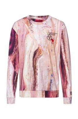 ユニセックス スウェットシャツ マーブルプリント フレンチテリーコットン, パターン