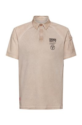 Unisex polo shirt in cotton with chevron-print logo, Beige