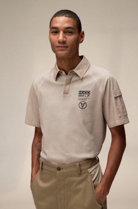 Polo mixte en coton avec logo imprimé à chevrons, Beige