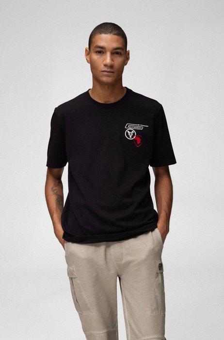 T-shirt mixte en coton avec motif planète artistique, Noir