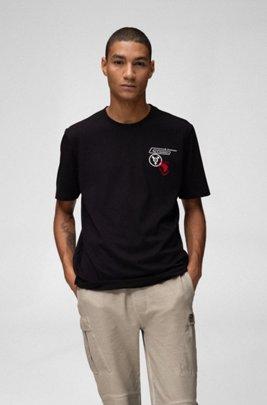 Camiseta unisex de algodón con ilustración de planeta, Negro