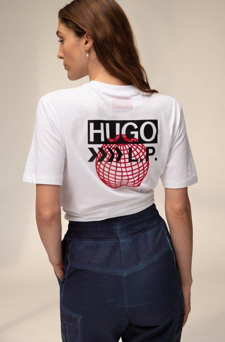 Uniseks T-shirt van katoen met planeetthema, Wit