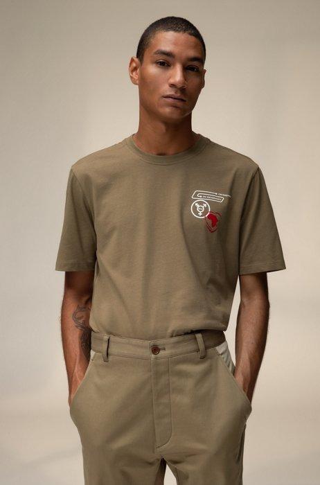 Uniseks T-shirt van katoen met planeetthema, Beige