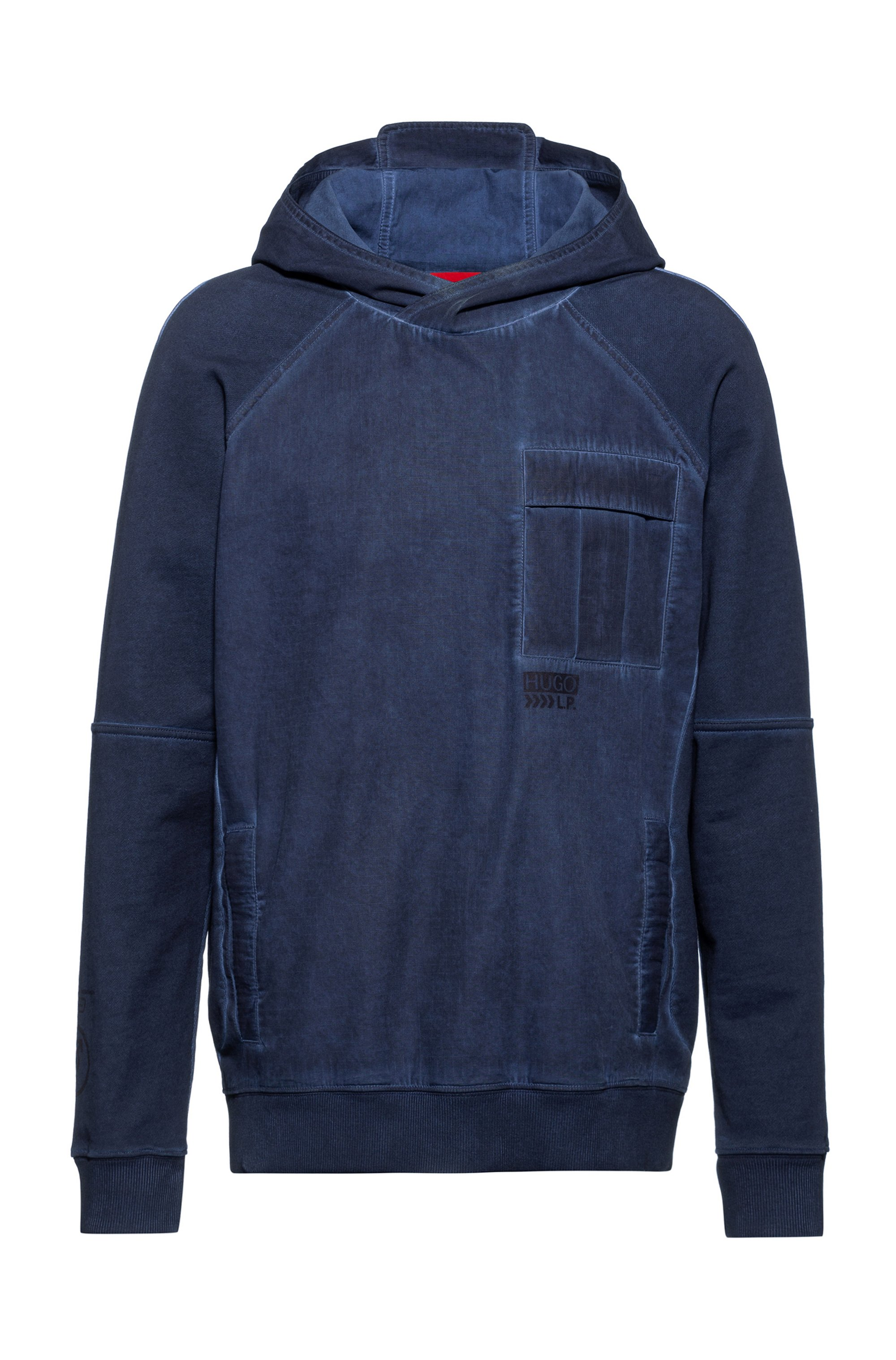 Unisex hooded sweatshirt in cotton with chevron-print logo, Dark Blue