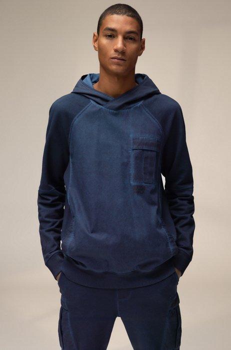 Uniseks sweater van katoen met capuchon en chevronprintlogo, Donkerblauw