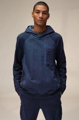 Unisex-Kapuzen-Sweatshirt aus Baumwolle mit Chevron-Logo, Dunkelblau