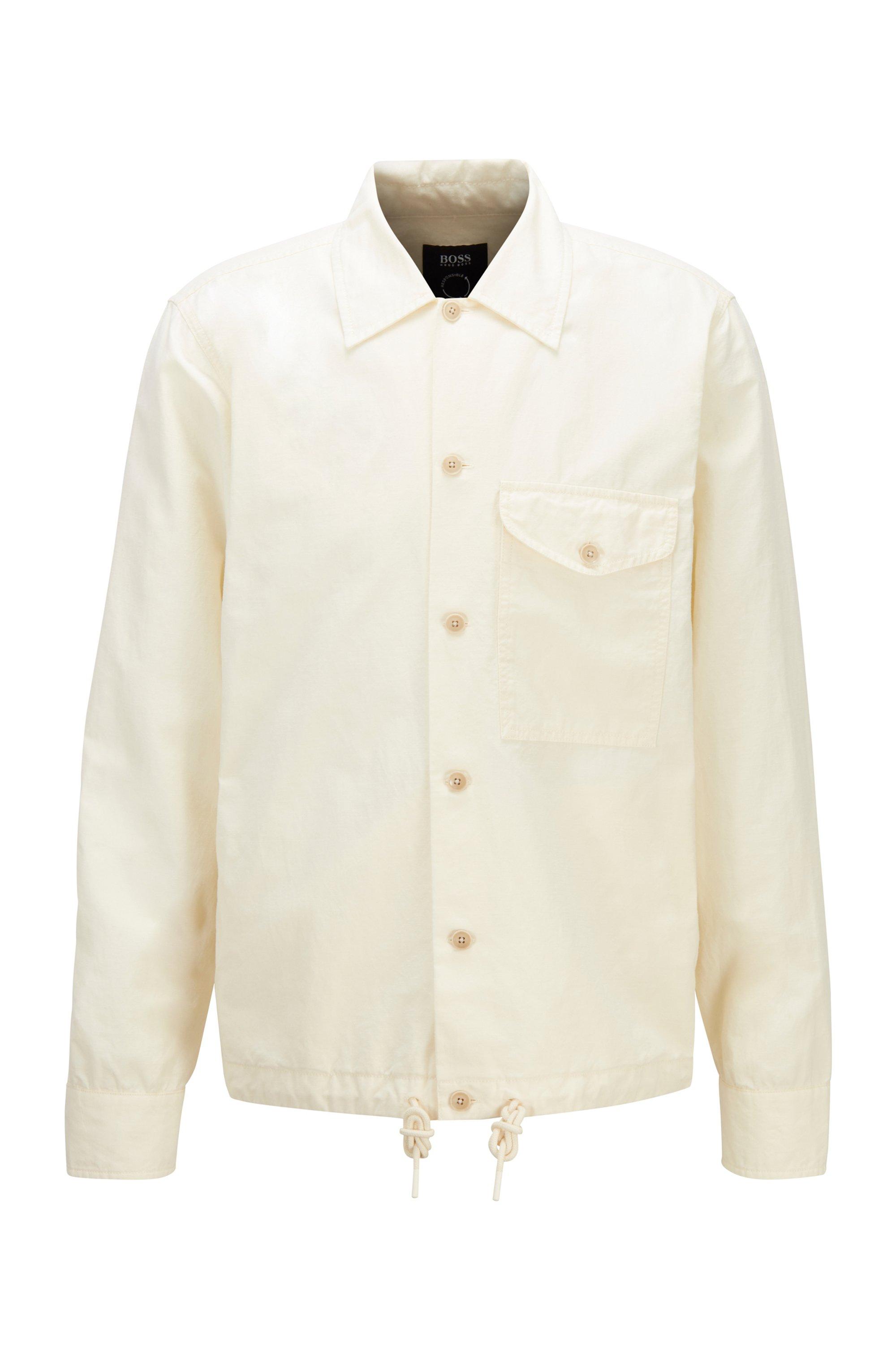 Oversized Hemd aus Bio-Baumwolle und Hanf, Hellbeige