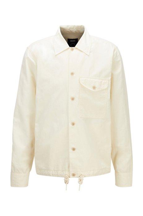 Oversized-fit shirt in organic cotton and hemp, Light Beige