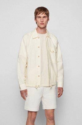 Camicia oversize in cotone biologico e canapa, Beige chiaro