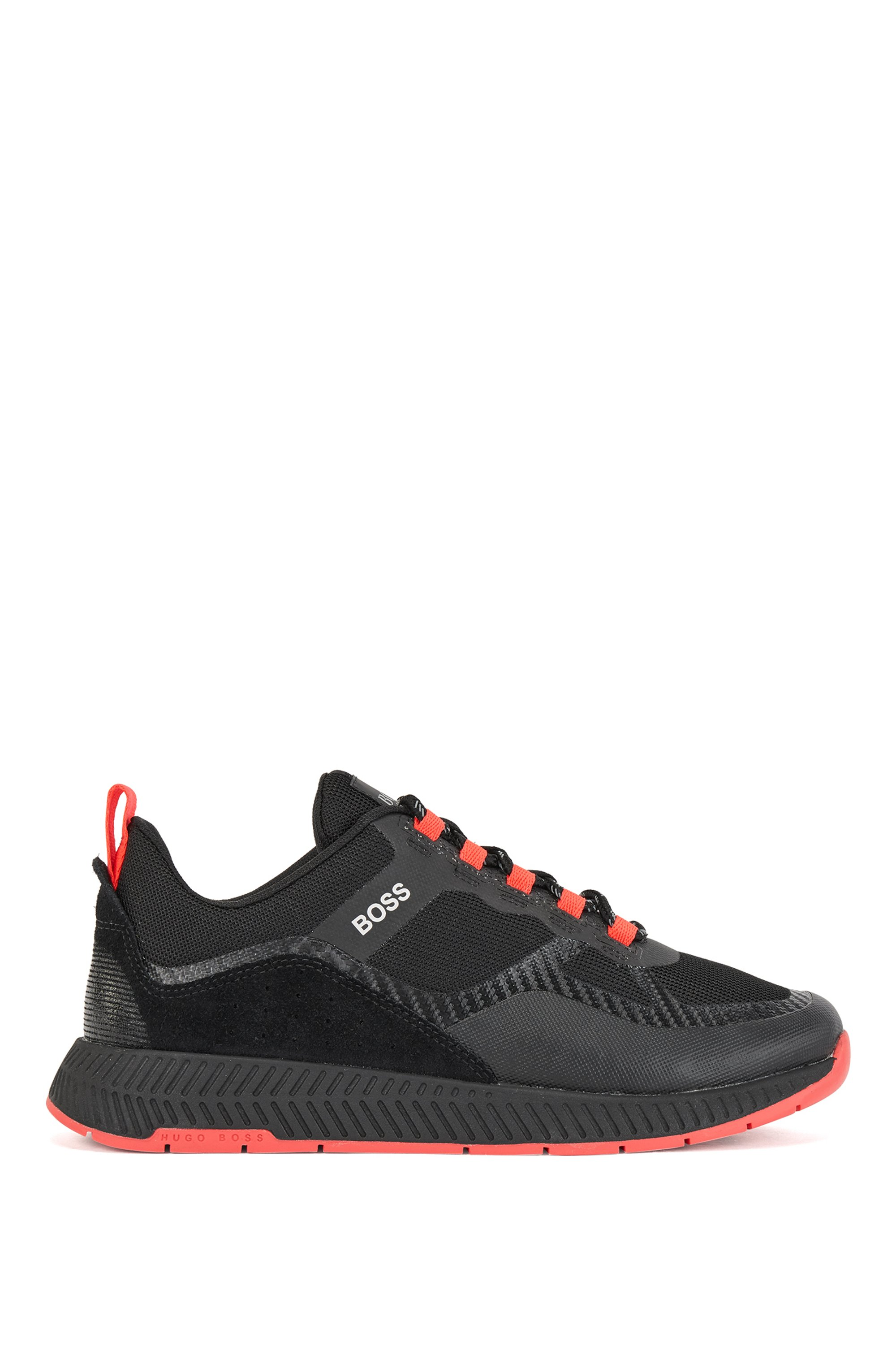 Unisex low-top trainers with leather facings, Black