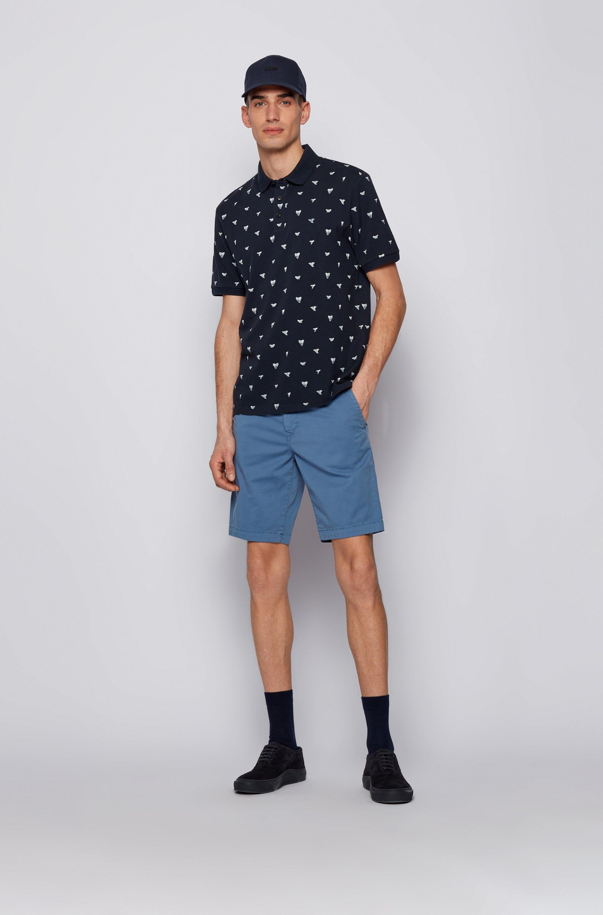 Cotton-piqué polo shirt with shark-tooth print
