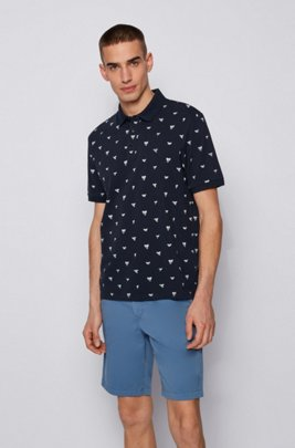 Cotton-piqué polo shirt with shark-tooth print, Blue Patterned