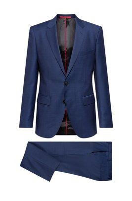 Regular-fit suit in a patterned virgin-wool blend, Blue