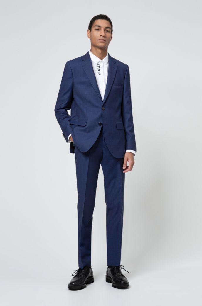 Regular-fit suit in a patterned virgin-wool blend