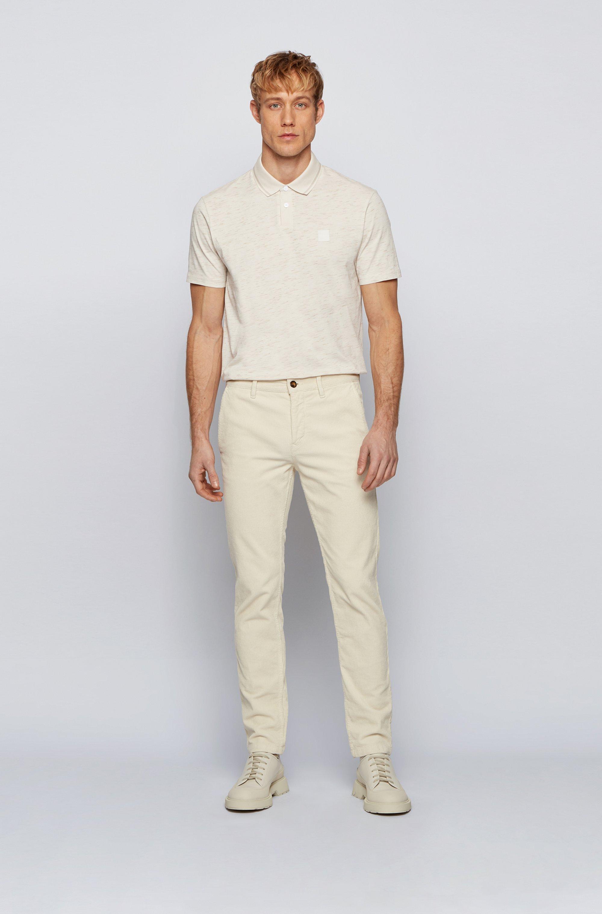 Slub-print polo shirt in cotton-blend jersey