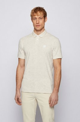 Slub-print polo shirt in cotton-blend jersey, Light Beige