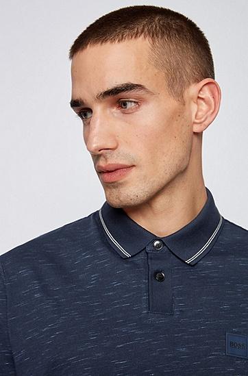 竹节印花棉混纺平纹针织 Polo 衫,  404_暗蓝色
