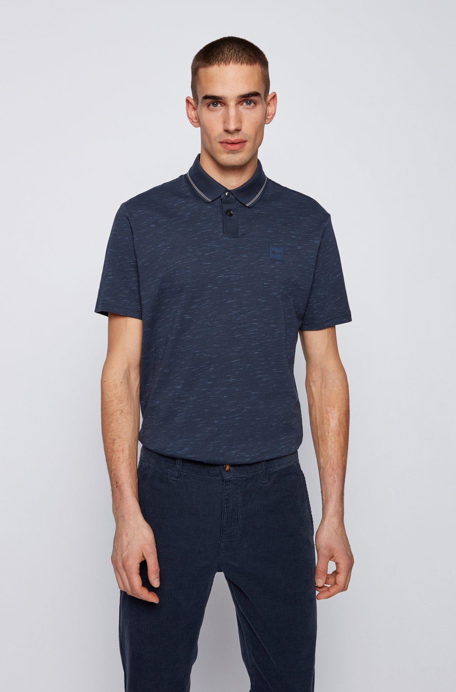 Jersey-Poloshirt aus Baumwoll-Mix mit Struktur-Print, Dunkelblau