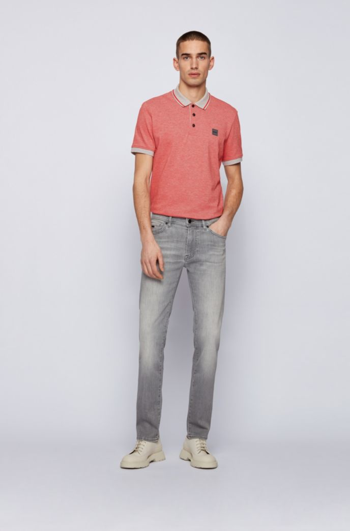 Regular-fit polo shirt in melange cotton