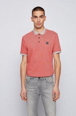 Regular-fit polo shirt in melange cotton, Red