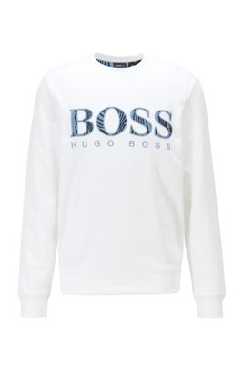 Relaxed-fit cotton sweatshirt with logo and embroidery, White