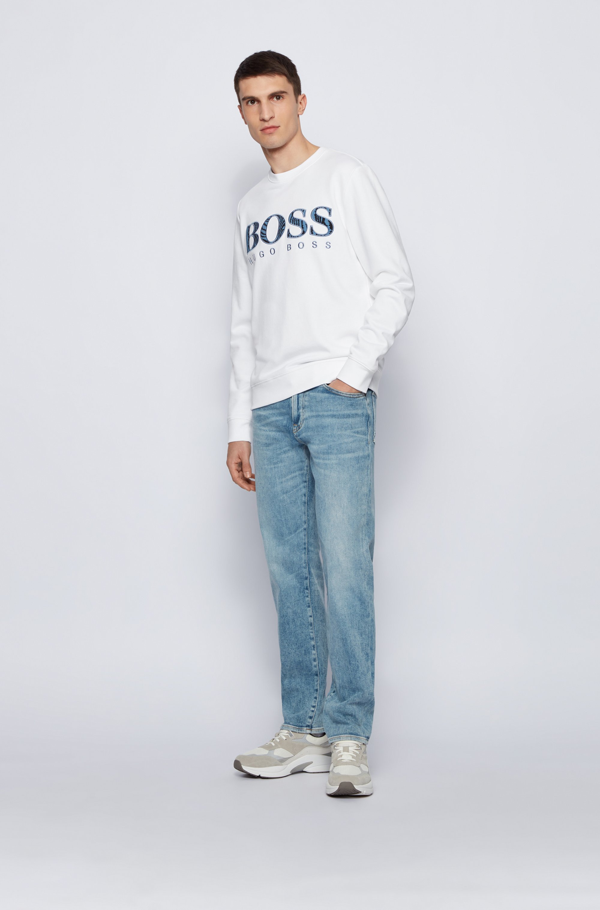 Relaxed-fit cotton sweatshirt with logo and embroidery