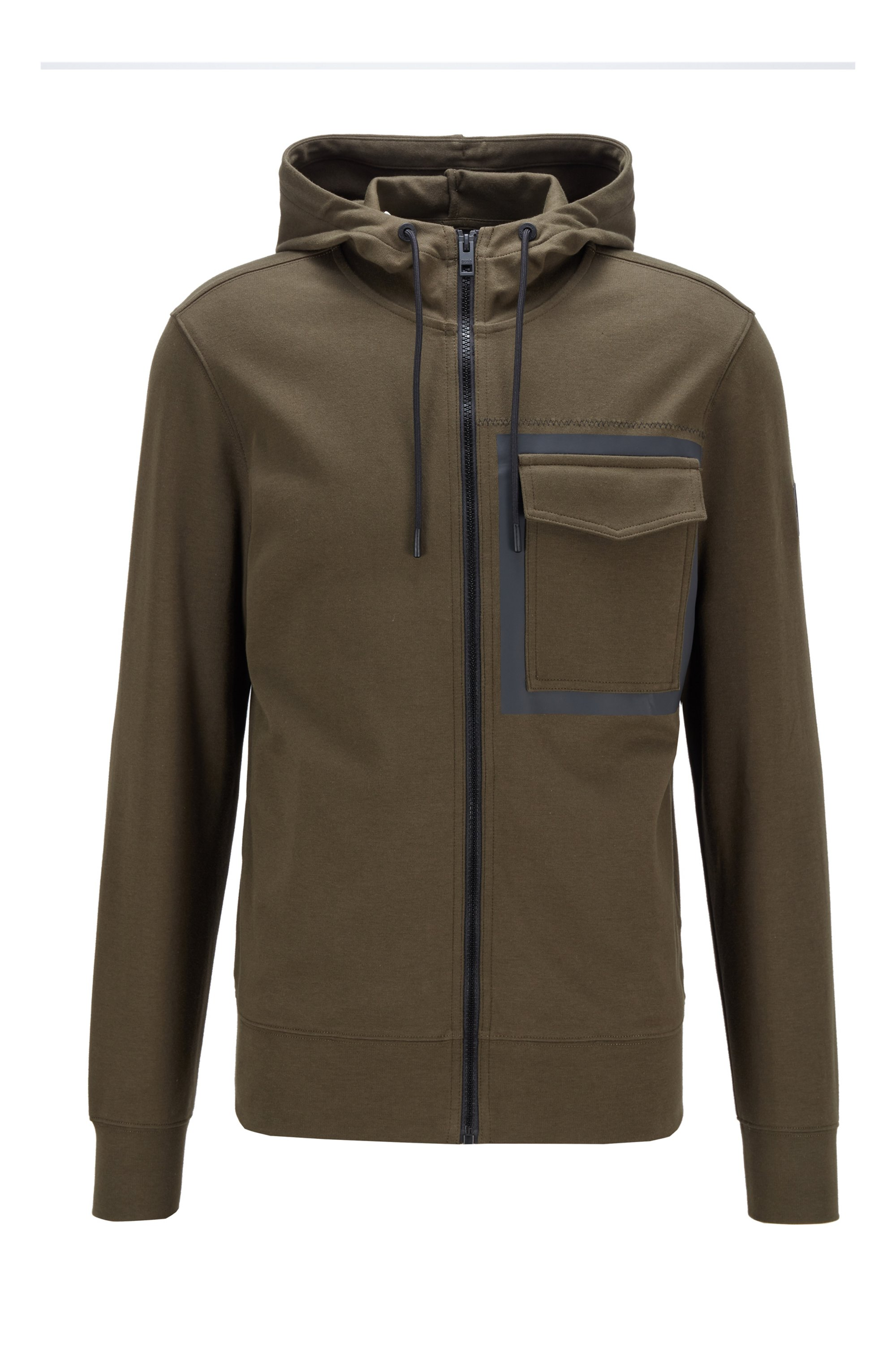 Hooded cotton jacket with rubber panel print, Khaki