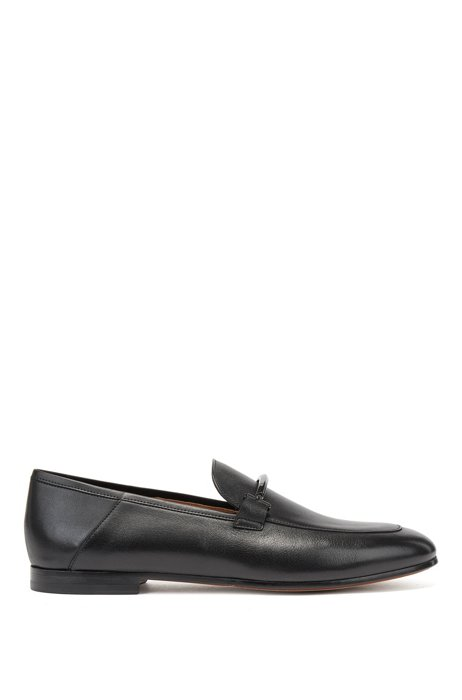 Italian-made loafers in leather with logo-engraved hardware, Black