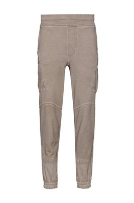 Unisex regular-fit cargo trousers in garment-dyed cotton, Beige
