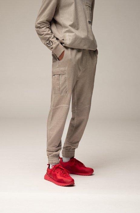 Pantalon cargo Regular Fit mixte en coton teint en pièce, Beige