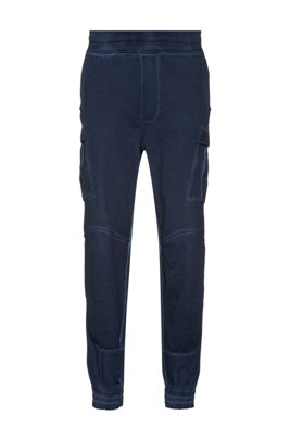 Unisex regular-fit cargo trousers in garment-dyed cotton, Dark Blue