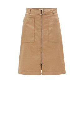 Belted chino skirt in stretch cotton, Beige