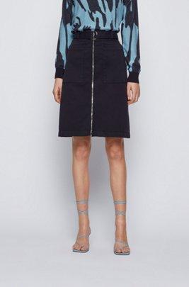 Belted chino skirt in stretch cotton, Dark Blue