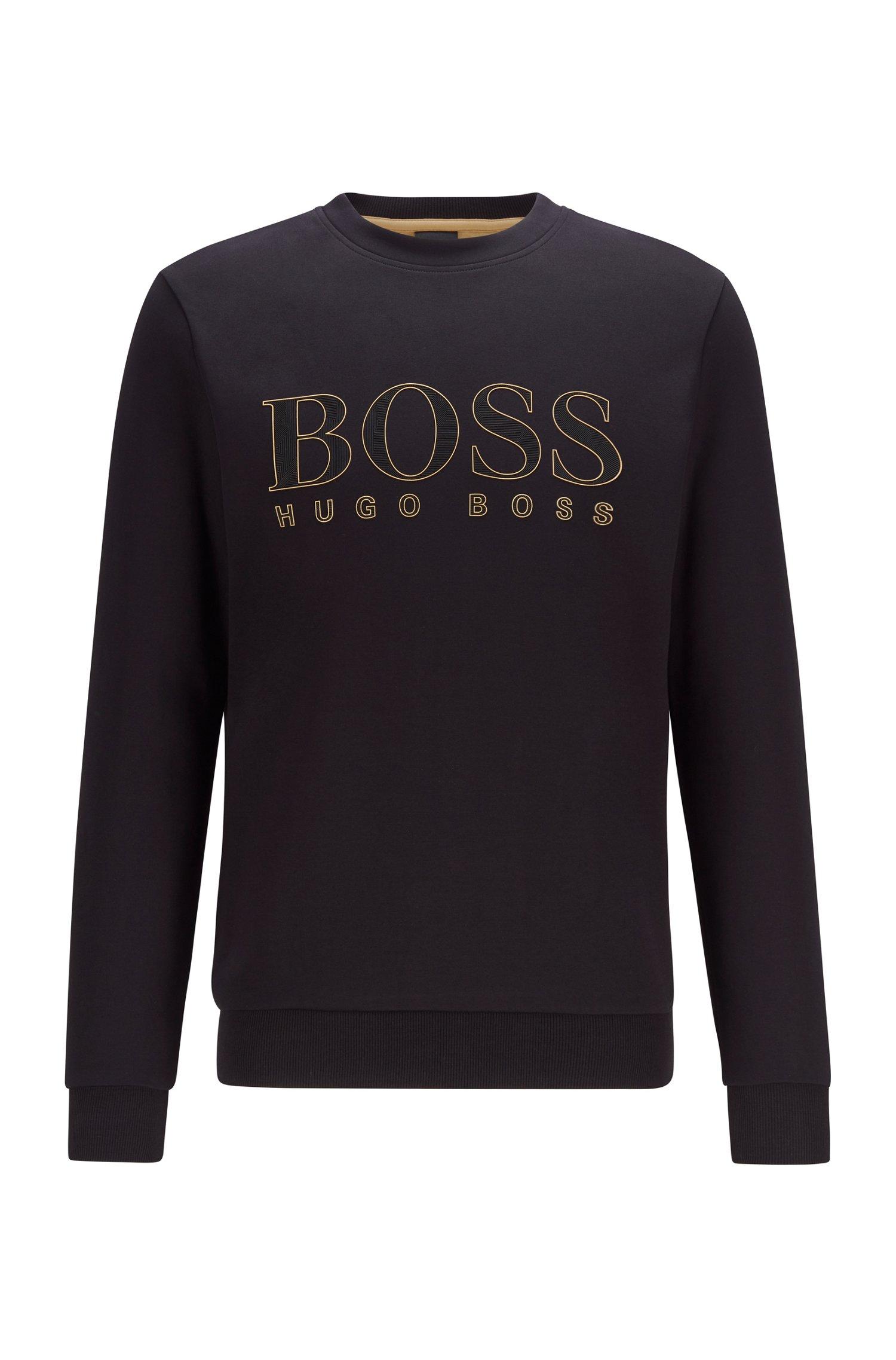 Logo-print slim-fit sweatshirt in cotton-blend interlock , Black