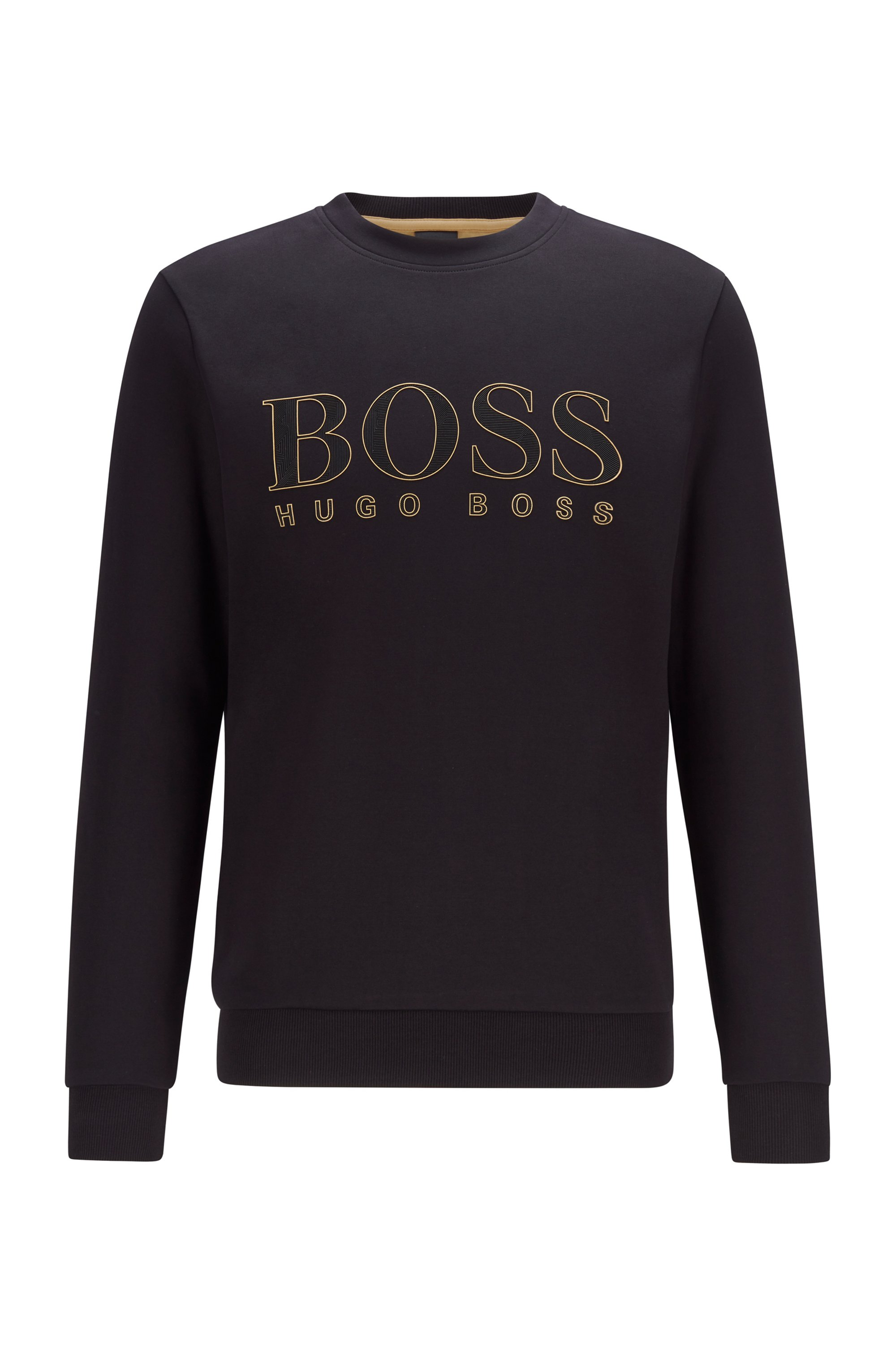 Logo-print slim-fit sweatshirt in cotton-blend interlock , Black